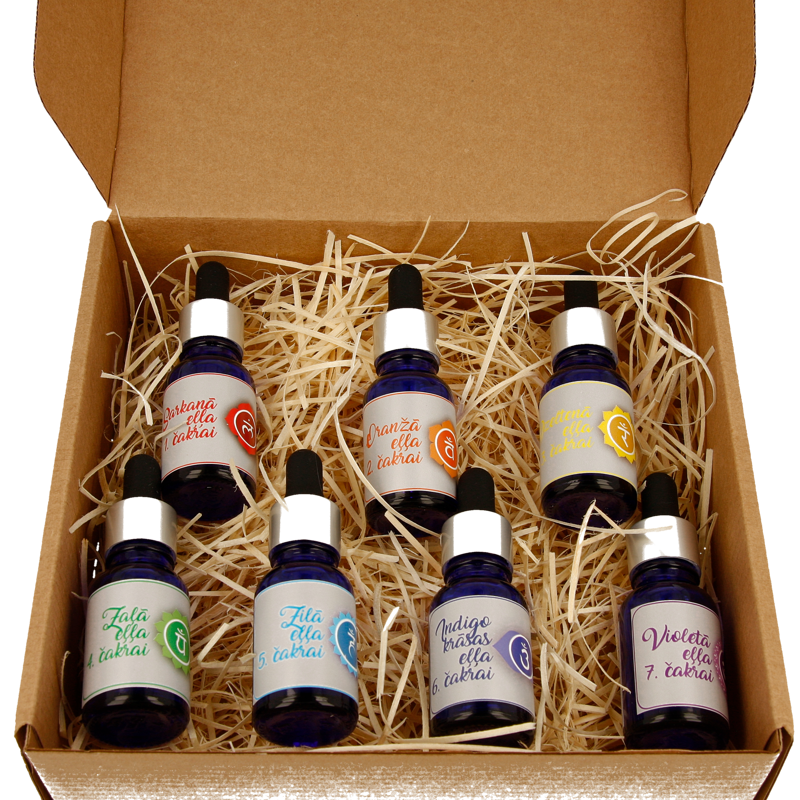 A SET OF CHAKRA OIL BLENDS (1st to 7th Chakra) in a cardboard box