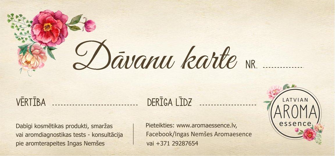 DĀVANU KARTE no Latvian Aroma-Essence